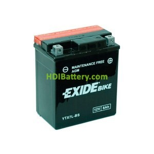 Batería AGM Exide moto YTX7L-BS 12V. 6Ah.